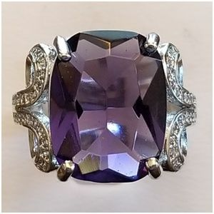 4.68CT Amethyst & White Sapphire Ring Size 7